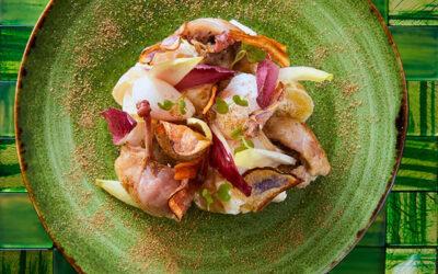 Gekonfijte kwartelboutjes met witlofkrieltjessalade